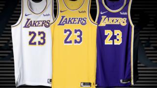 """Image de l'article Nike dévoile le maillot extérieur des Los Angeles Lakers 2019-2020 """"Icon Edition"""""""